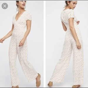 NWT Free People Mia Peach Print Jumpsuit
